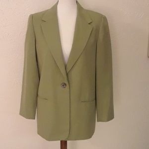 Classic sage green long wool blazer 10